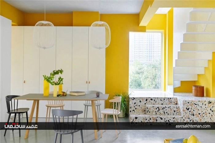 دکوراسیون داخلی جسورانه آپارتمانی به رنگ زرد و سفید