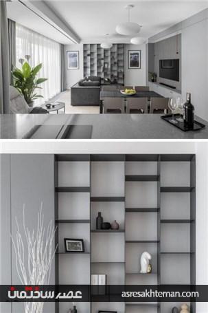 دکوراسیون تک رنگ و منحصر به فرد آپارتمانی با رنگ طوسی