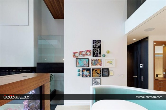کانتر ترکیبی مدرن آشپزخانه با نشیمن نیم دایره